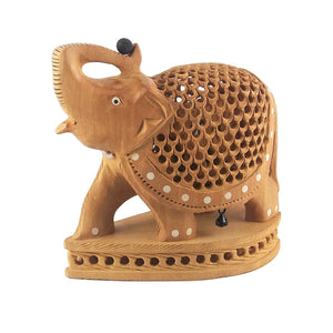 Mother Elephant Statue with Baby Elephant Inside Wooden Statue