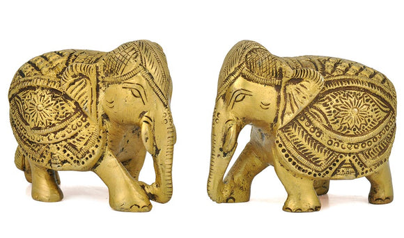 Brass Carved Elephant Pair
