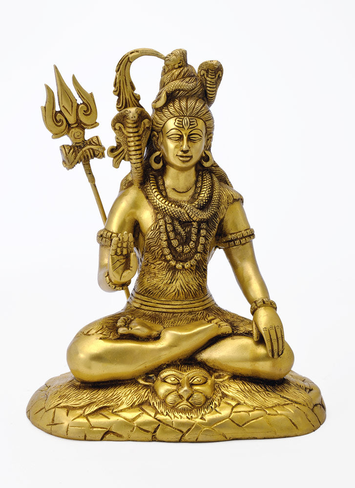 Sitting Lord Shiva Brass Statue
