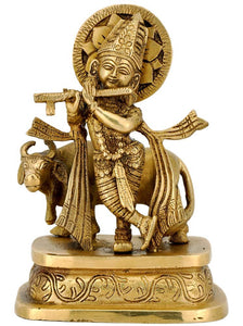 Krishna with Cow - Brass Statue 4198