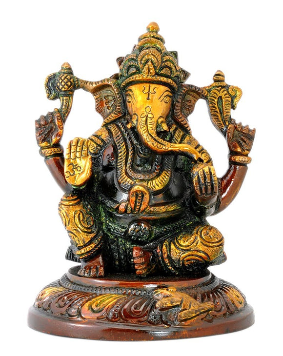 Blessing Lord Ganesha Brass Statue