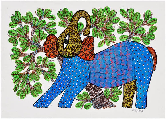 'Elephant' Gond Tribal Painting