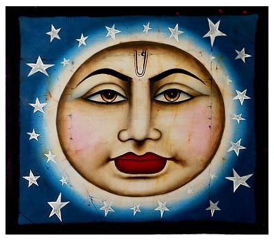 Shining Moon with Stars - Batik Painting
