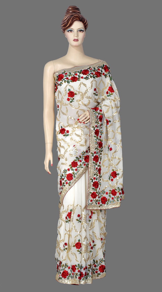 Beautiful Cream Color Saree with Embroidered Work