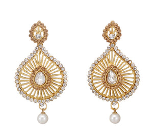 Crystal Stone Studded Golden White Dangle & Drop Earring