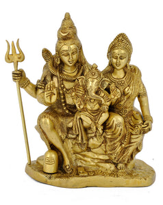 Brass Sculpture of Lord Shiva Family