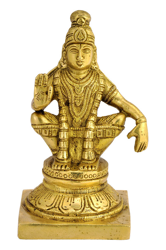 Seated Lord Ayyappan fine Brass Statue 4466