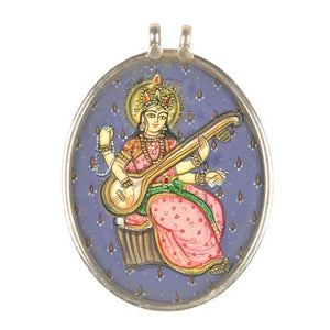 "Goddess of Art ""Saraswati"" Handpainted Pendant"