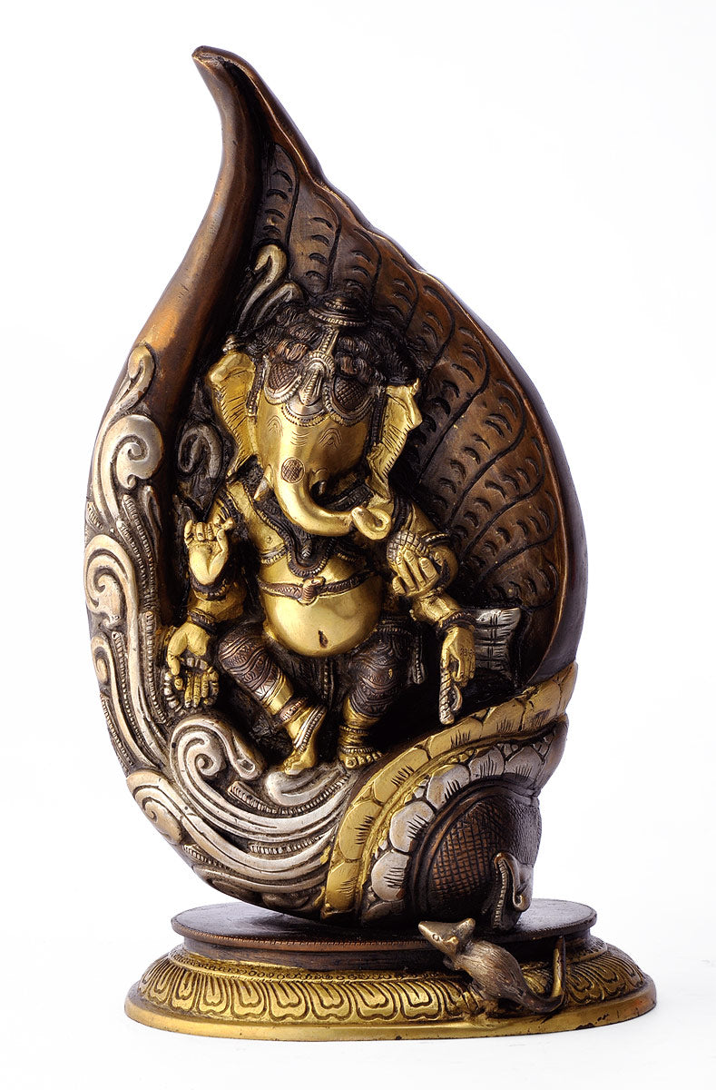 Lord Ganesha Carved in Brass Conch 1918