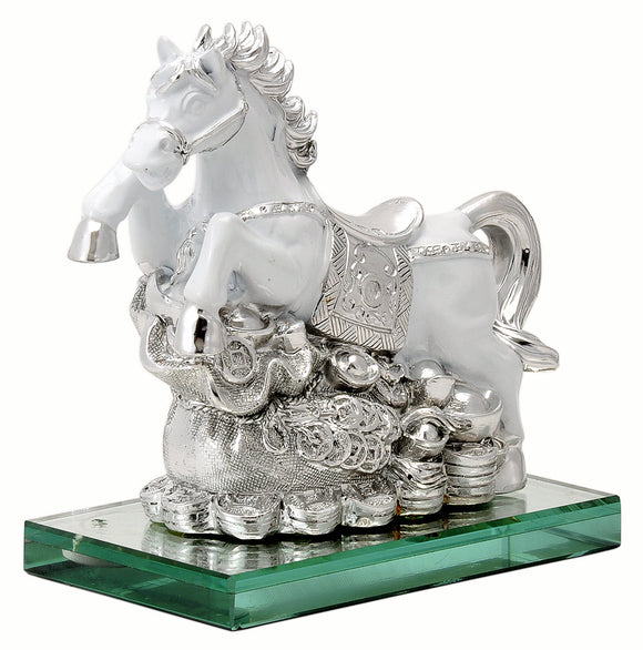 Feng Shui White Horse with Bag of Wealth - Polyresin Figure