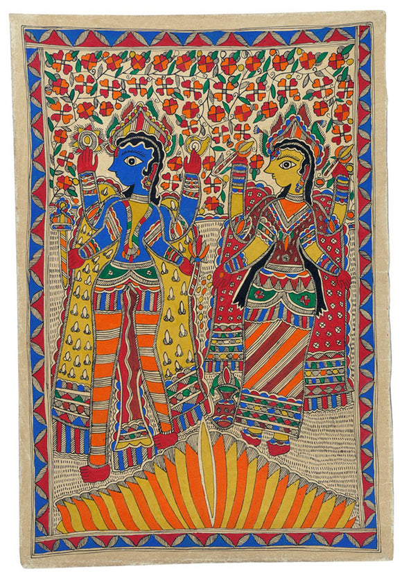 Sri Vishnu Lakshmi - Traditional Madhubani Painting