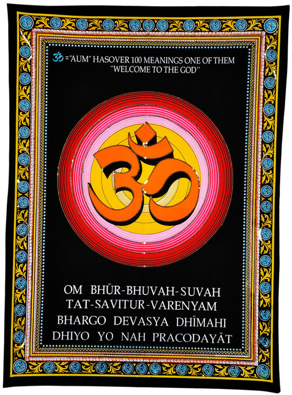 Hindu Holy Aum Tapestry with Gayatri Mantra Cotton Painting