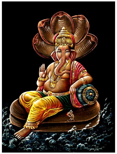 Lord Vinayak Seated on Sheshanaga - Velvet Painting