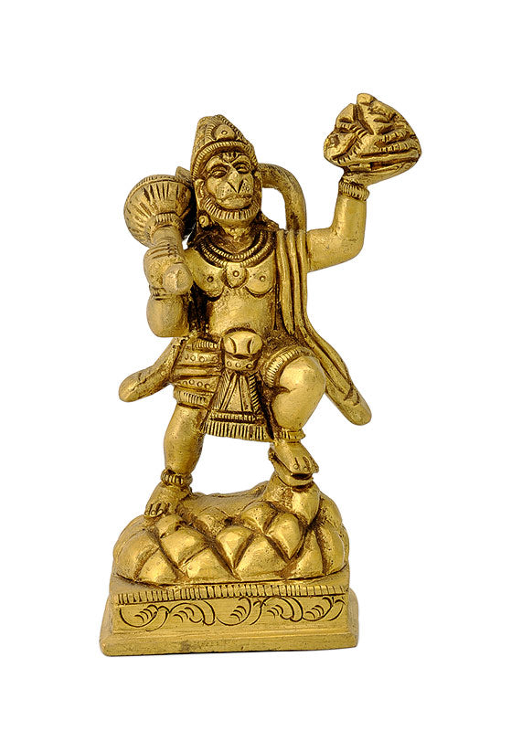 God Hanuman Carrying Mountain Brass Statue