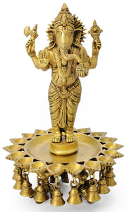Standing God Ganesha Brass Lamp with Bell