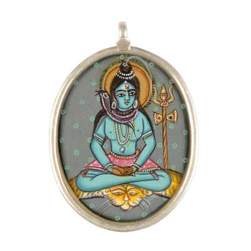 Meditating Shiva - Hand Painted Pendant