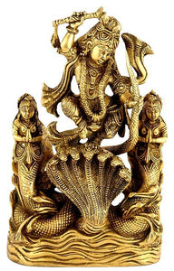 Victorious Lord Krishna - Brass Statue
