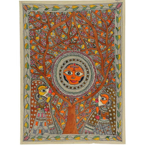 Mother Goddes Nature - Madhubani Painting