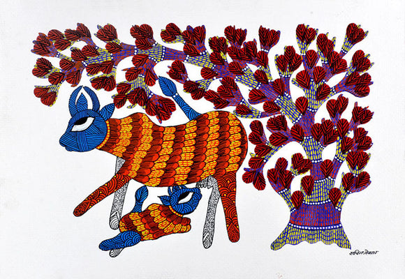 Cow Feeding Her Calf - Gond Folkart