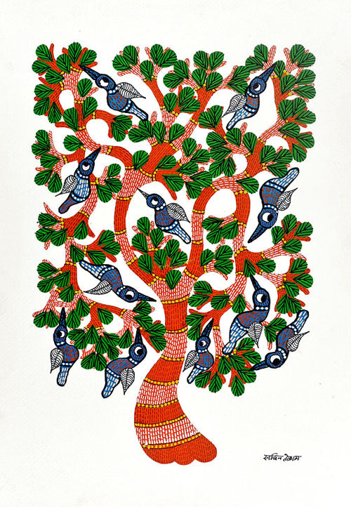 Tribal Trees of Life Gond Panting