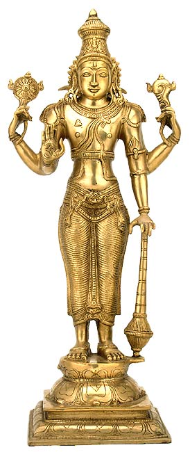 Big Lord Vishnu Brass Statue Standing Narayan Holding Club Idol 2168