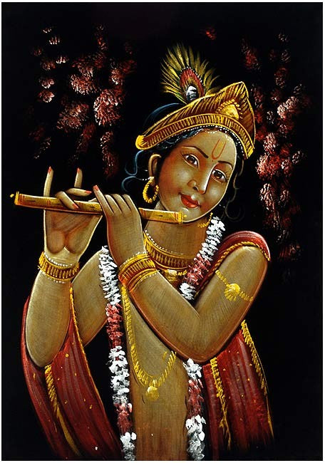Eternal Musician Lord Krishna - Large Velvet Painting
