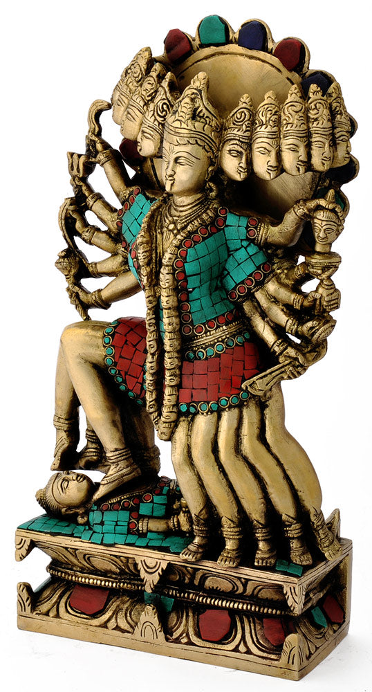 Ten Arms Devi Kali Religious Brass Figure 4778