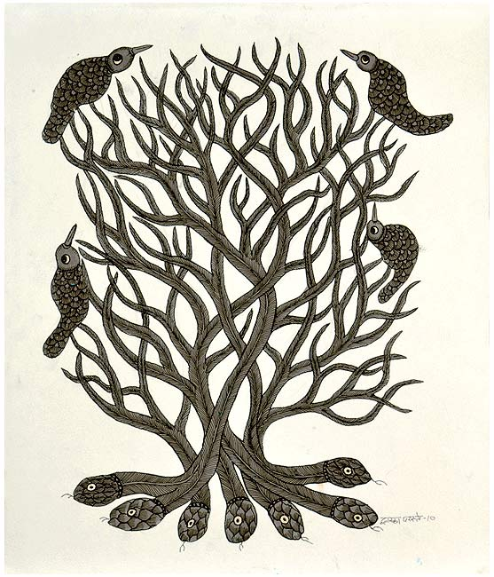 'Guardian Tree' Gond Tribal Drawing