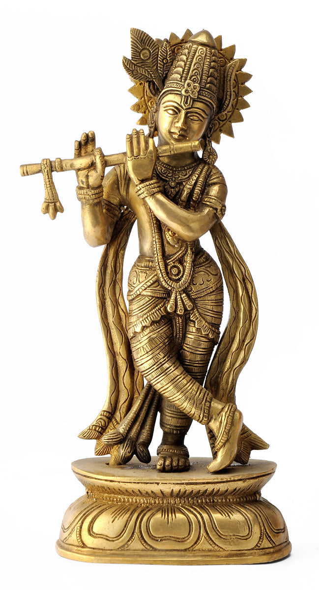Lord Krishna Playing Flute Brass Statue