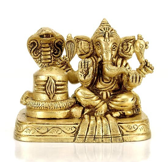 Ganesha with Shivling Brass Statue