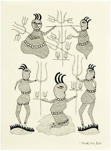 Yogis Practicing Austerity - Gond Painting