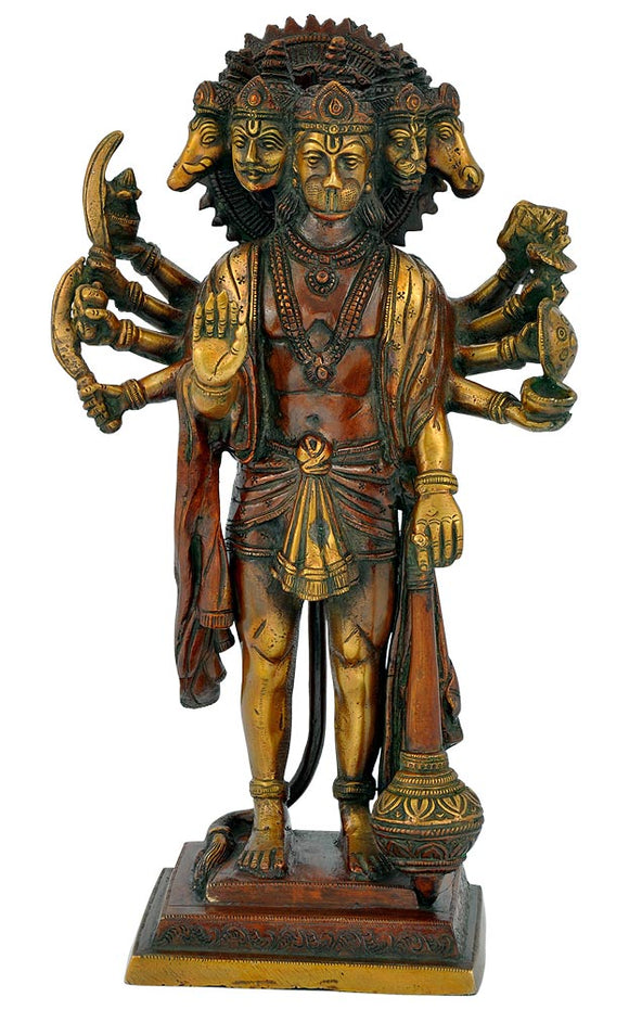 Five Headed Hanuman ji Brass  Statue