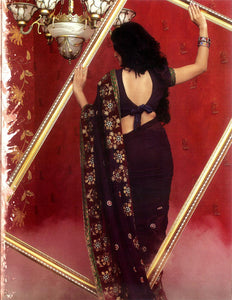 Party Wear Georgette Sari with Sequins & Embroidery Work