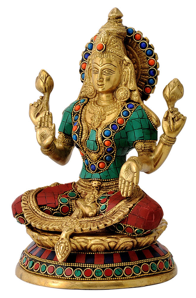 Goddess of Wealth Laxmi Maa Brass Statue