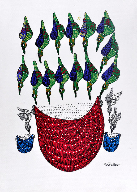Gond Panting Birds Drinking Water