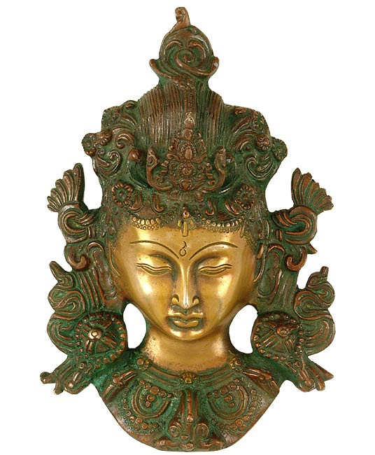 Buddhist Tara Brass Mask Antique Color Tibetan Goddess Head Wall Hanging 3483