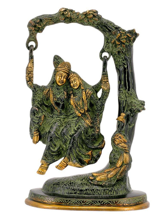 Radha Krishna on Jhula Brass Statue