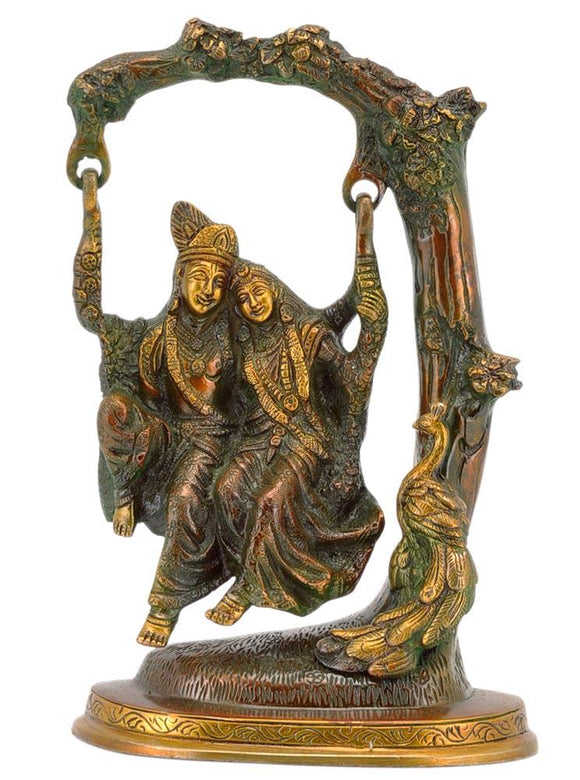 Radha Krishna on a Swing  Brass Statue