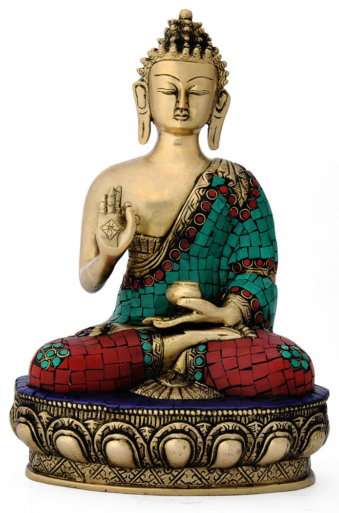 Brass Mediating Buddha Seated on Lotus Sculpture 4761
