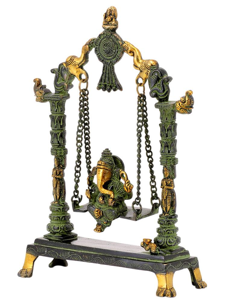 Lord Ganesh on a Swing Jhula Brass Statue