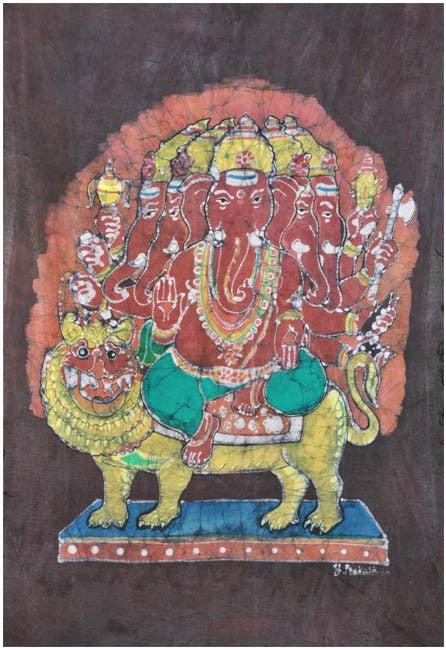 Lord Heramba Ganesha Seated on Lion - Batik Painting