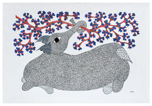 Folk Gond Painting - Baby Elephant in Playful Mood
