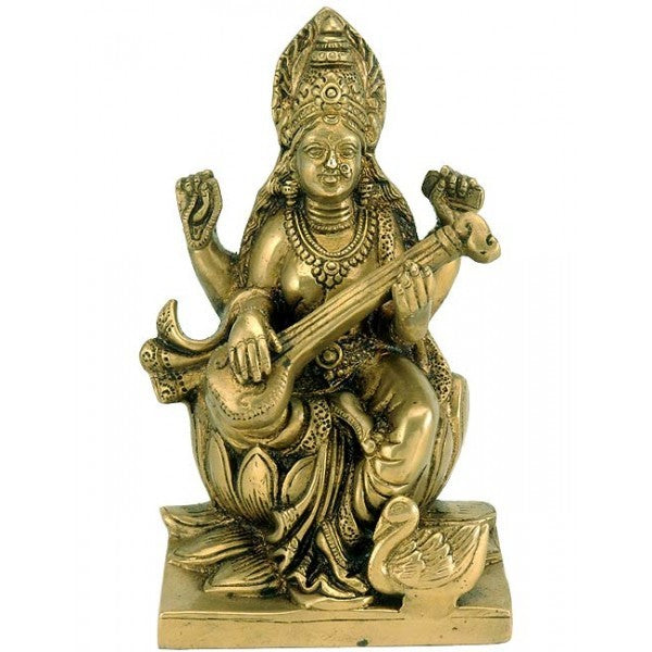 Goddess Saraswati with Veena - Brass Statue