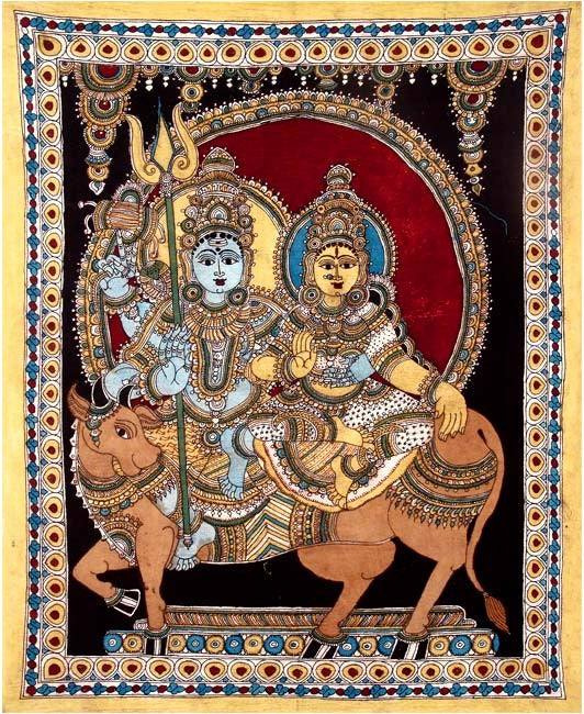 Gauri Shankar Seated on Nandi - Kalamkari Painting