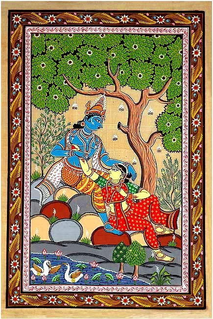 Divine Love of Radha Krishna - Pata Painting