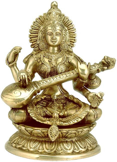 'Mata Saraswati Plays Veena' Brass Sculpture