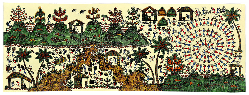 Day to day Social Life Warli Painting