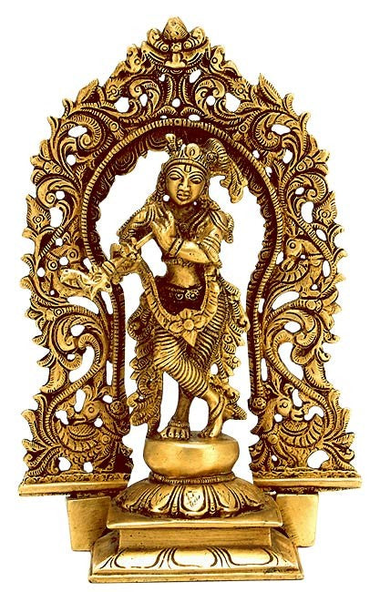 Gracious God Krishna - Brass Statuette