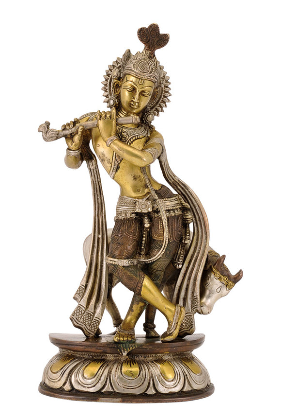 Shri Krishna with Cow - Brass Statue