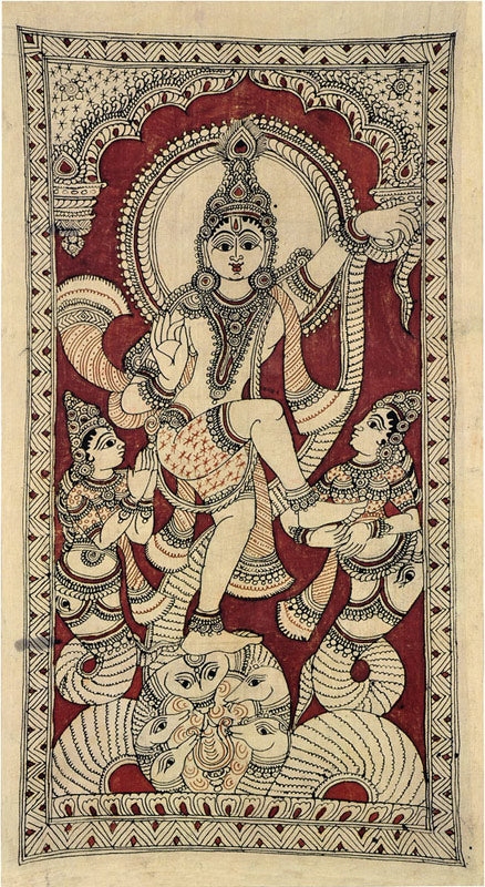 Krishna Dancing on the Demon Snake Kaliya - Kalamkari Painting 4792